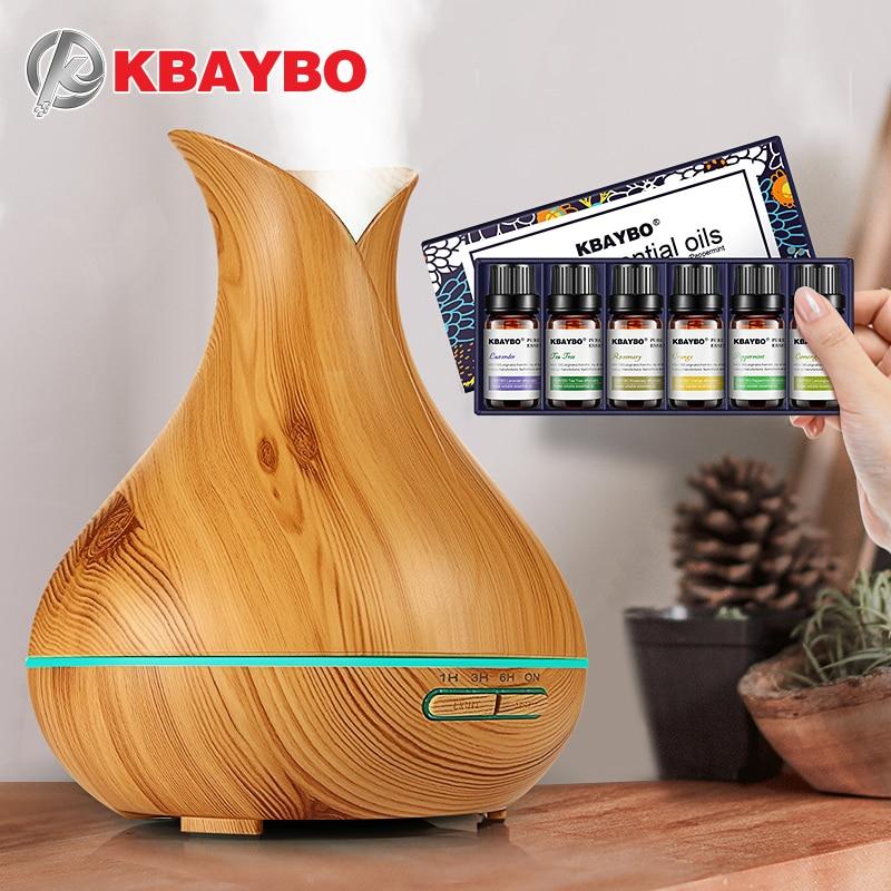Kbaybo humidificador ultrasónico grano de madera aroma eléctrico Aceites difusor para el hogar té de lavanda Orange aceites vegetales