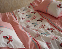 3 Pcs 100 Cotton Twill Embroidered Home Queen King Size Duvet Cover Sets Butterfly Dance Embroidery