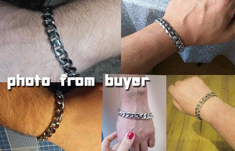 Moorvan Jewelry Men Bracelet Cuban links & chains Stainless Steel Bracelet for Bangle Male Accessory Wholesale B284 1