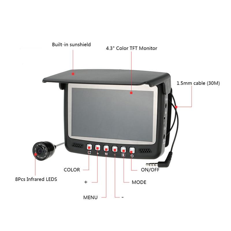 Рыболокатор для подводного льда, видео рыболокатор, рыболокатор, камера для рыбалки, ИК, ночное видение, 4,3 дюймов, монитор, камера HD 1000TVL