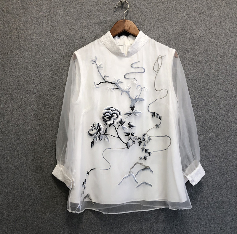 Chic women's Chinese style Organza blouses top 2019 Spring summer embroidered Shirts A278 - 5