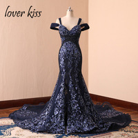 Lover Kiss Abendkleider 2018 Luxury Women Sequined Mermaid Evening Gowns Navy Blue Caftan Marocaine Celebrity Red