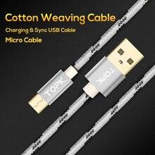 TOPK Cable Micro USB 2.4A rápido de sincronización de datos Cable de carga para Samsung Huawei Xiaomi LG Android Microusb Cables de teléfono móvil