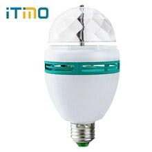 Kolorowe RGB E27 3W LED kryształowe światło sceniczne automatyczne obracająca się lampa na dyskotekę impreza z dj-em lampa taneczna kryształowa żarówka kula dekoracja pokoju