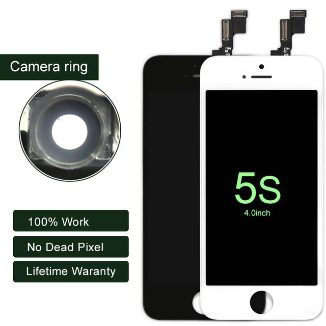 Envío gratis + tracking no. 100% probado para iphone 5s pantalla lcd de pantalla digitalizador asamblea blanco/negro