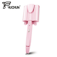 Electric Automatic Perm Splint Hair Flat Iron 3 Barrels Big Wave Straightener Curler Waver Curlers with LCD Display