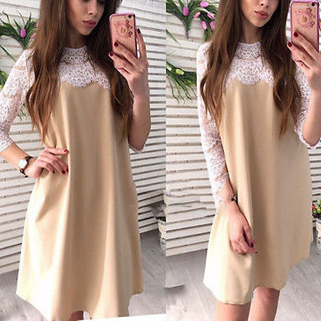 962a3e94e Moda mujer damas verano manga tres cuartos Encaje costura recta vestido  casual partido corto mini vestido