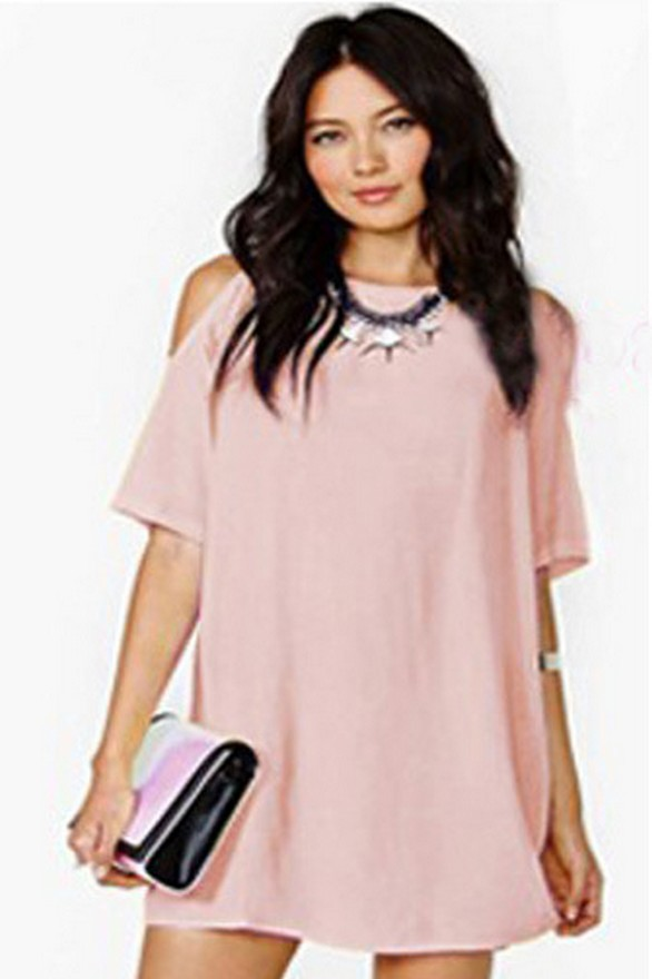 2019 New Short Sleeve Off Shoulder Chiffon Women 39 s Dress Fashion Casual Loose Skirt Women in Dresses from Women 39 s Clothing