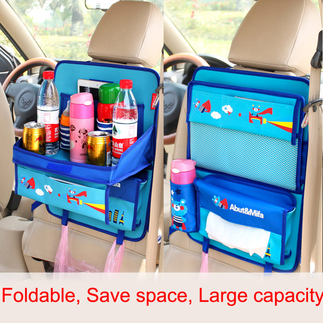 cute cartoon folded car organizer for kids multi pocket storage box bag oxford dining table car