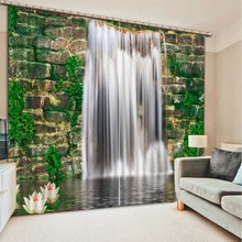 custom High quality Waterfall landscape 3D Photo Blackout Curtain For Living Room Bedroom Kids room