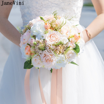 JaneVini 2019 Romantic Pink Wedding Bouquets with Ribbon Handle Artificial Bridal Bouquets Silk Rose Flowers Ramos Para Novia