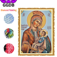 GGDB Embroidery Cross Stitch Rhinestone Mosaic Painting Madonna And Jesus Full 5D DIY Square Diamond Painting