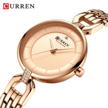 CURREN Fashion Womens Watches Rose Gold Slim Dial Rhinestone Quartz Wrist Watch Bracelet Reloj Mujer Clock Relogio Feminino Gift