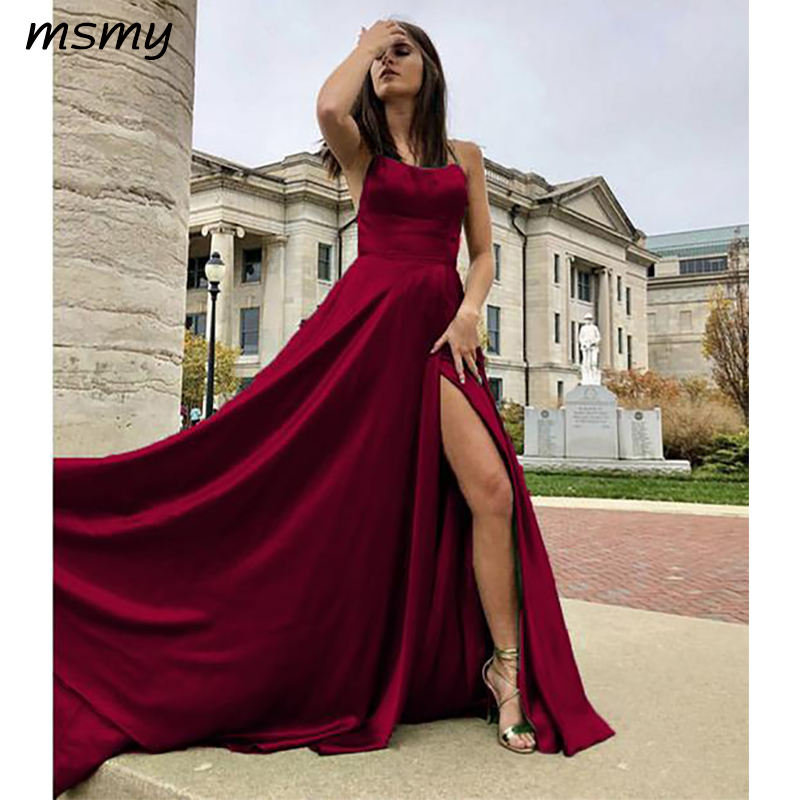 2019 New   Evening     Dresses   A-Line Floor Length Sleeveless Prom Dressess Side Split Sexy   Evening   Gowns Custom Made