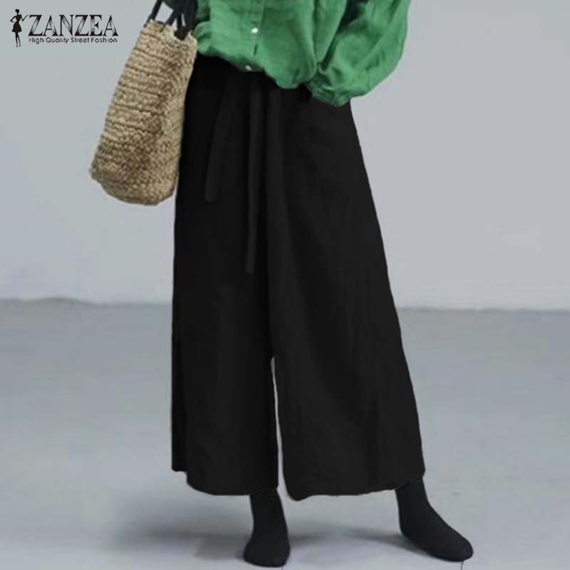 ZANZEA   Wide     Leg     Pants   Women Trousers Casual Loose Cotton Solid   Pants   Ladies Elastic Waist Pockets Streetwear Pantalones Mujer