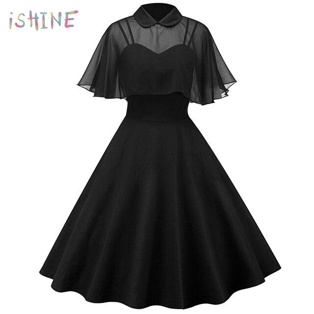 5f577374505b Vintage Hepburn Pin Up Spring Women Dress Chiffon Cape Retro Party Dress  Vestidos Peter Pan Collar Cloak Sleeve A-Line Dress 2XL