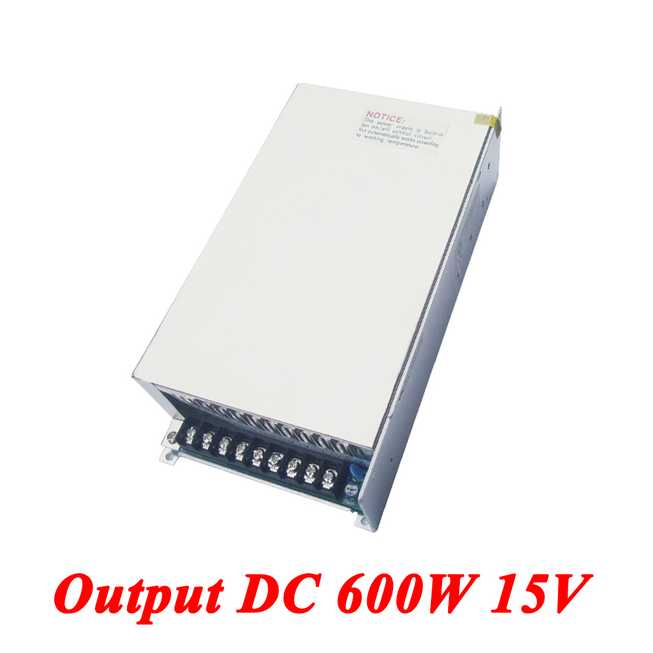S-600-15 High-power 600W 15v 40A,Single Output dc switching power supply for Led Strip,AC110V/220V Transformer to DC 15V 15v 600w switching power supply 15v 40a single output ajustable 50 60hz ac to dc industrial power supplies s 600 15