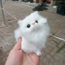 Simulation white cat polyethylene&furs cat model funny gift about 10*9CM