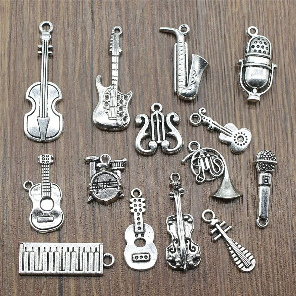 4pcs Argent Ancien instrument musique pendentif charm G832