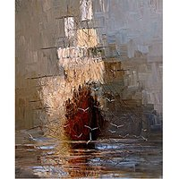 Hand made Abstract Wall Art the Boat in the Sea Sailling Oil Painting on Canvas Decoration