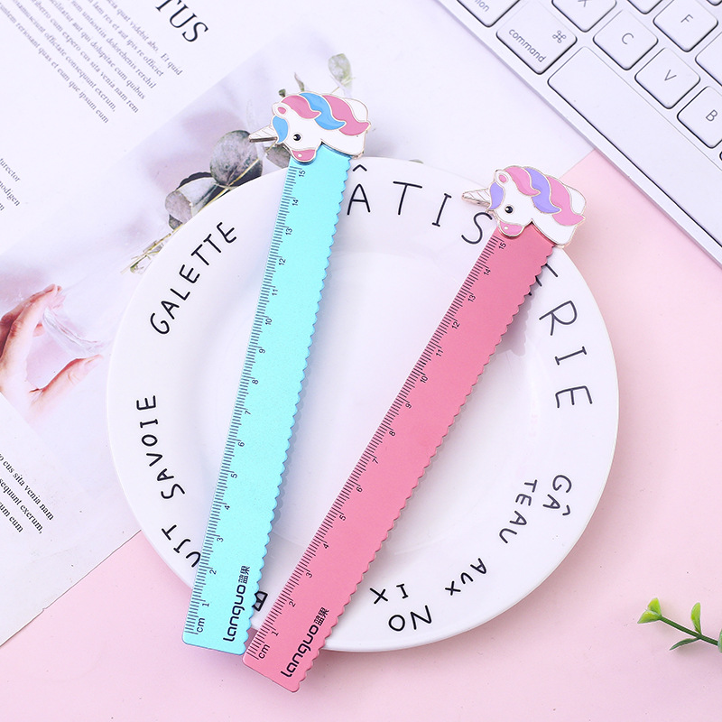 1pc Cartoon Animal Unicorn Pig 15cm Straight Ruler Lovely Metal Bookmark Ruler Painting Learning School Stationery Supply