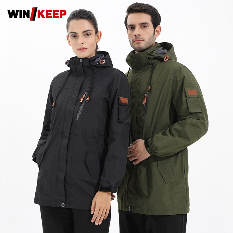 все цены на Winter Men Women Outdoor Hiking Fleece Jacket Camping Ski Overcoat Waterproof Windbreaker Trekking Fishing Jacket Plus Size Coat
