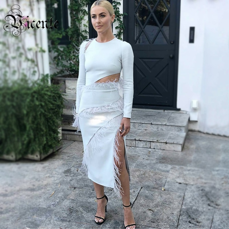 Vicente 2019 New Chic White Dress Feather Design Long Sleeves Waist Hollow Out Celebrity Party Club