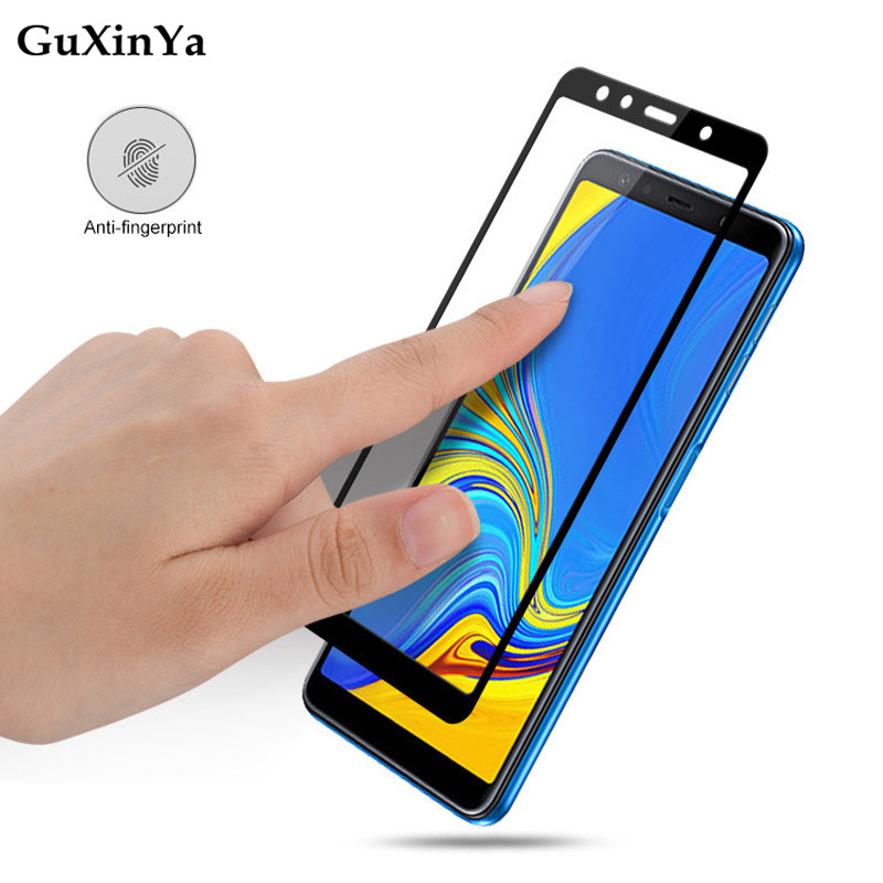 Screen Protector Glass For Samsung Galaxy A7 2018 Full Glue Tempered Glass For Samsung A7 2018 Full Cover Glass A750 Phone Film in Phone Screen Protectors from Cellphones Telecommunications