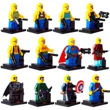 12pcs/lot Despicable ME3 Minions Building Blocks Set Dave Stuart Chef Soldier Figures Bricks Toys Compatible with Legoes