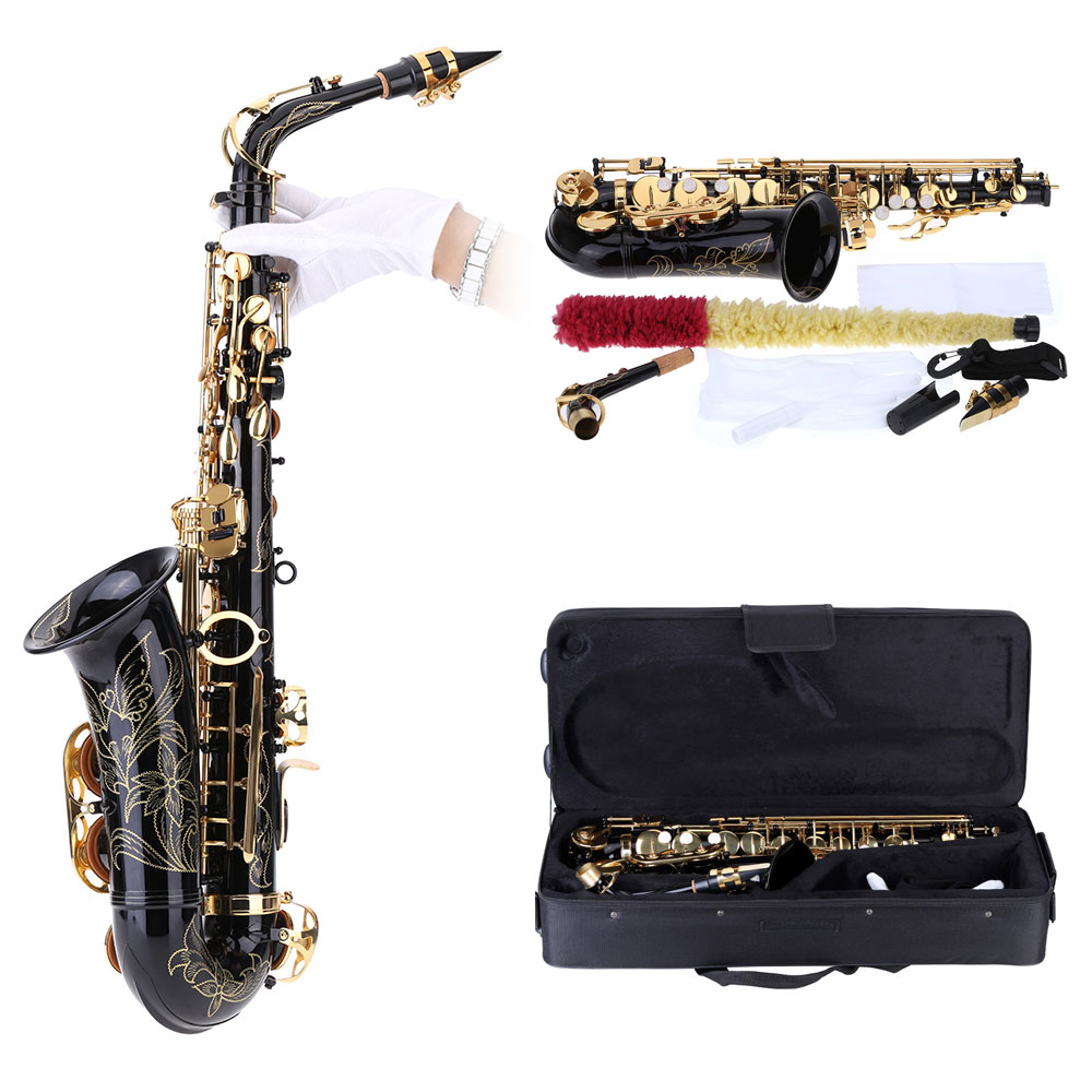 ammoon bE Alto Saxophone Brass Lacquered Gold E Flat Sax 82Z Key Type Woodwind Instrument with