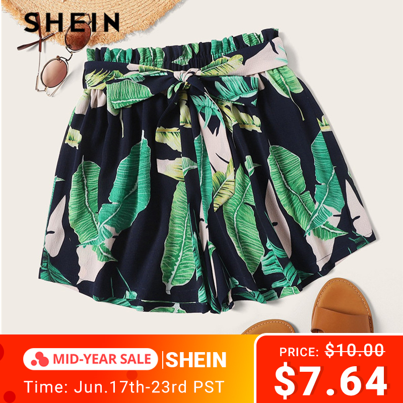 SHEIN Bohemian Belted Paperbag Waist Tropical Print   Shorts   Women 2019 Beach Vacation Casual Elastic Waist Summer   Shorts