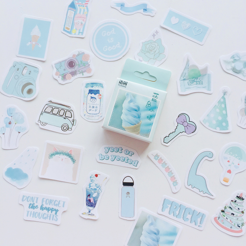 50 Sheets /Box Blue Style Mood DIY Adhesive Stickers Decorative Scrapbooking Diary Album Stick Label