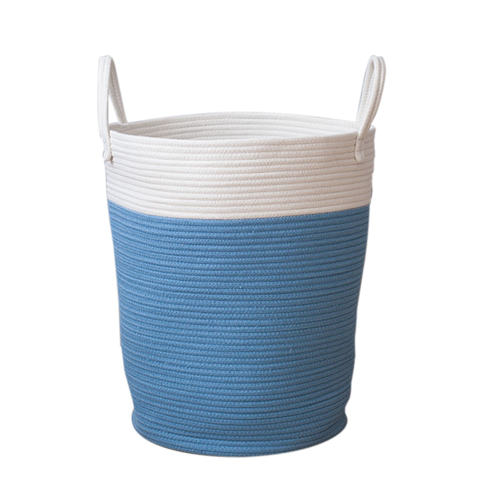 2pcs Round Cotton Rattan Handmade Woven Storage Baskets Laundry Basket For Towels Clothes Toys Sundries Organizing