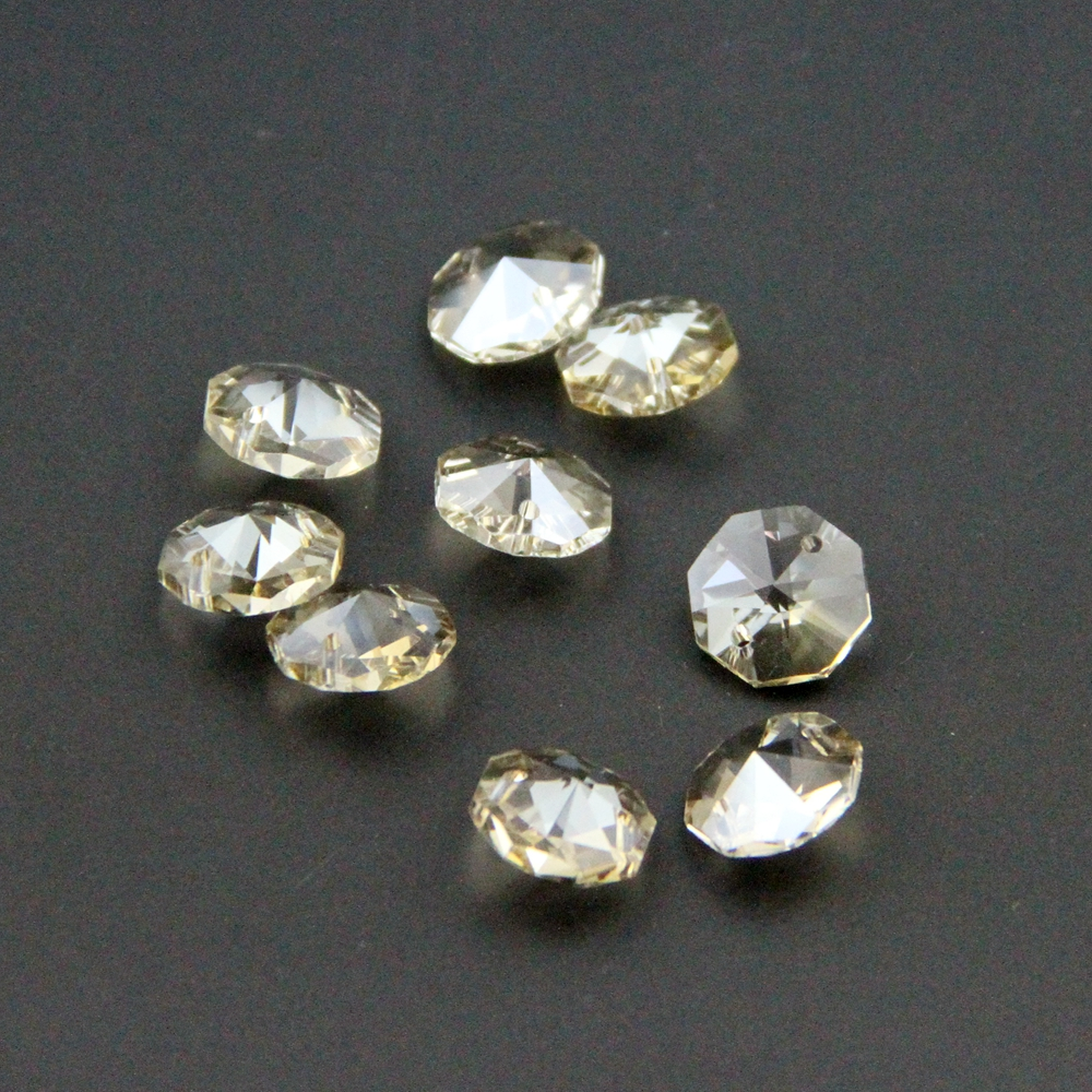 HOT SALE! Free Shipping 50-2000pcs/lot 14mm Cognac Crystal Octagon Beads With 2 Holes For Home Decoration