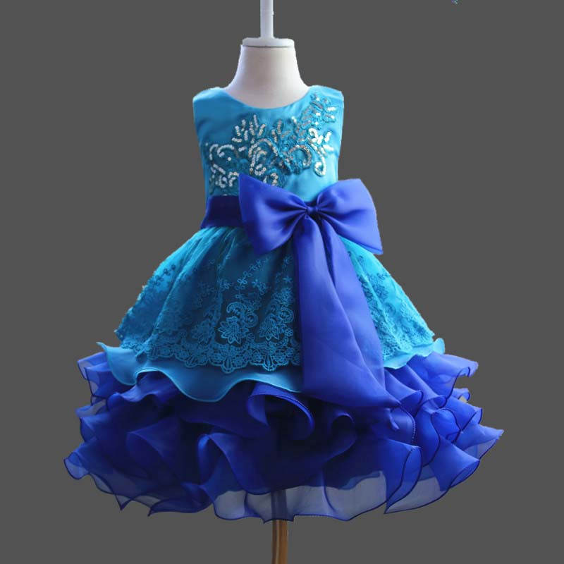 Flowers Girl Dress Princess Tutu bow Dresses for Wedding Girls Clothes Party Kids Wear Ceremonies Birthday Baptism Cake Dress