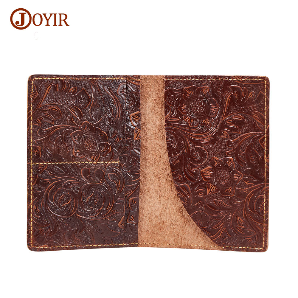 Joyir Women Genuine Leather Passport Holders Vintage Crazy Horse Leather Passport Bag Travel Document Cover Card