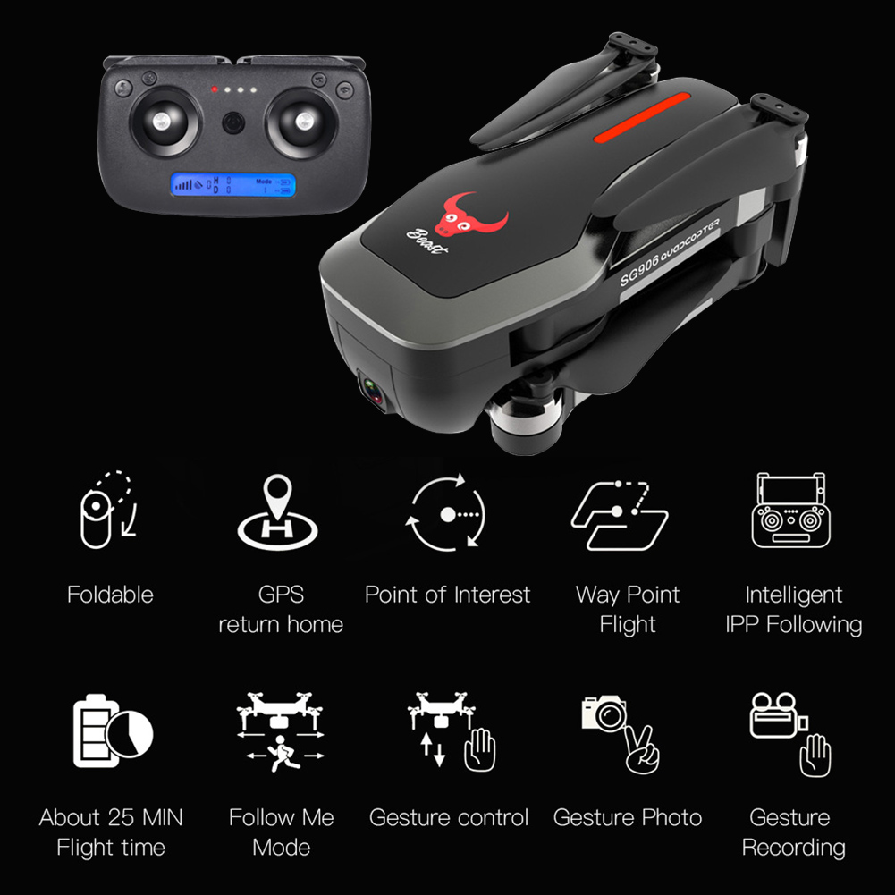 SG906 WIFI RC Drone Toys Clear Camera Foldable GPS Quadcopter Altitude Hold Selfie FPV Brushless Gesture Photo Wide AngleSG906 WIFI RC Drone Toys Clear Camera Foldable GPS Quadcopter Altitude Hold Selfie FPV Brushless Gesture Photo Wide Angle