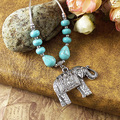 Wholesale Jewelry Europe New Tibetan Silver Turquoise Statement Vintage Necklaces Elephant Carving necklace & pendants Woman
