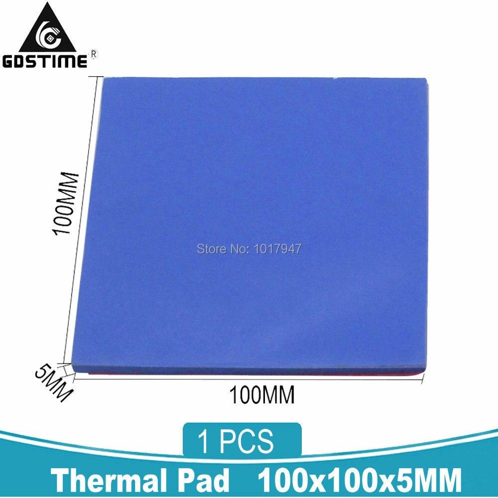 Gdstime 5mm Heatsink Cooling GPU CPU Thermal Conductive Silicone Pad Pads 100x100x5MM
