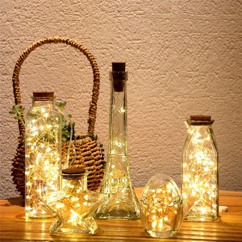 LED String Lights Garland Copper Wire Cork String Fairy Lights Wine Bottle Lights For Valentine Wedding Home Xmas Decoration