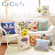 Nordic Pastoral Cushion Cover Bird Bee Tree Flower Printing Pillow Fabric Office Sofa Bed Heart Pillowcase Home Decor