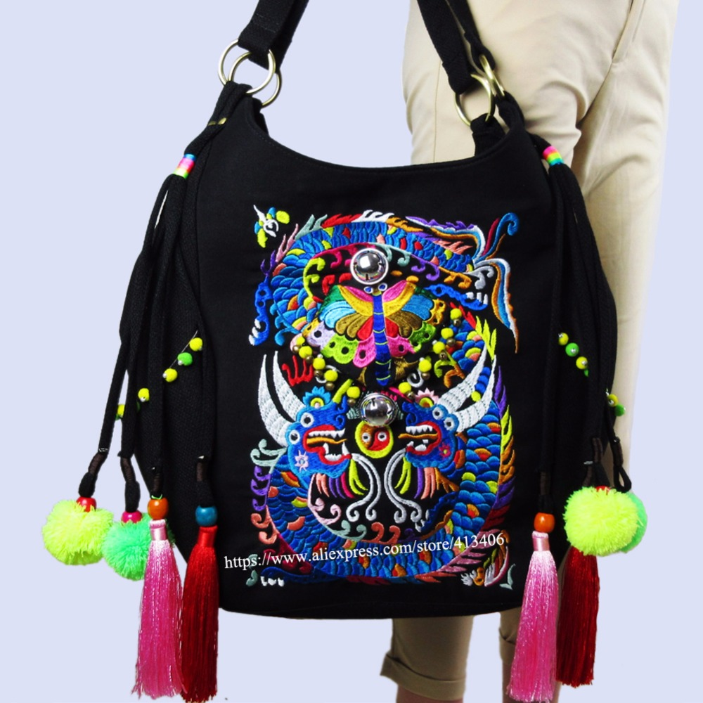 2-usage Vintage Hmong Tribal Ethnic Thai Indian Boho shoulder bag messenger  purse hobo tote bag women bell embroidery SYS-531 vintage hmong boho tribal ethnic thai indian boho embroidery hand bag messenger purse bag hobo tote bag pom bead trim sys 1016