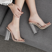 BYQDY Clear Crystal Transparent Sandals Women Square High Heels Shoes Slip-On Open Peep Toe Hollow Coarse Size 35-42
