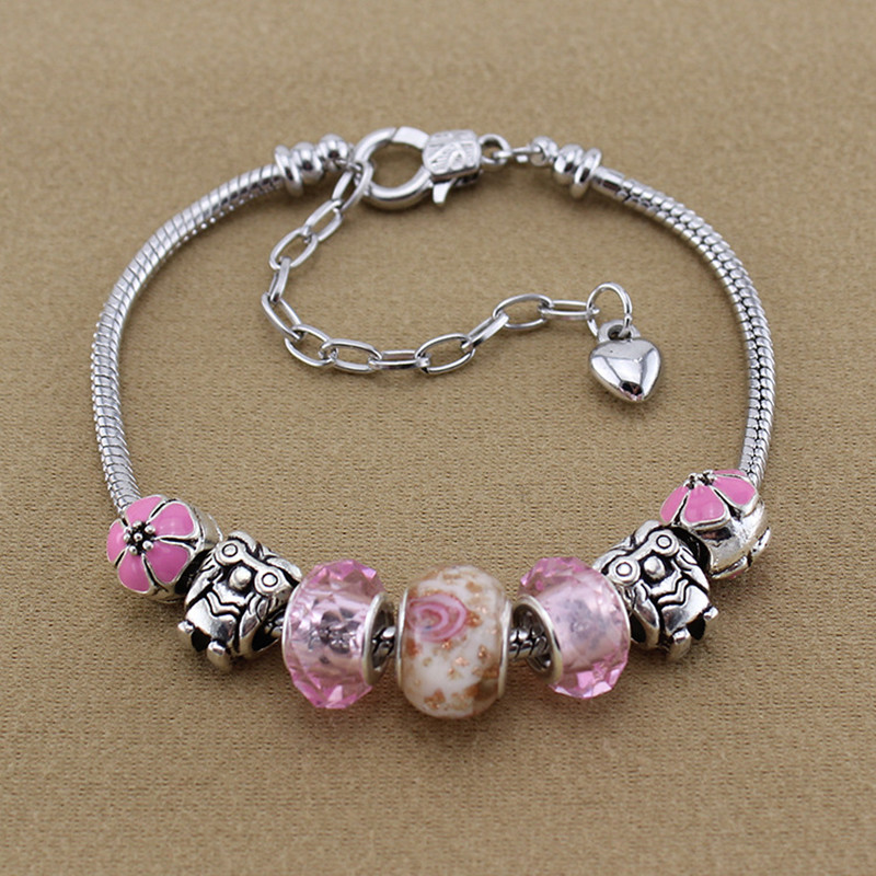ChangBizi Six Kinds of Color Beads Flower Crystal/Glass Beadas fashion lovely Charm Pandora Bracelets Bangles Woman Gift BT0023