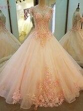 王女ピンクウエディングドレス 2020 ホット販売花レースアップリケビーズボールガウンキャップスリーブoネックスイープトレインレースアップイブニング