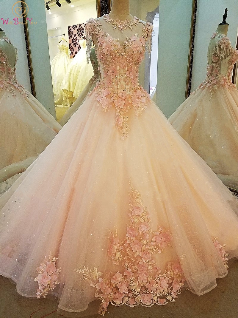 Princess Pink Prom Dresses 2019 Hot Sale Flowers Lace Appliques Beaded Ball Gown Cap Sleeves O Neck Sweep Train Lace Up Evening
