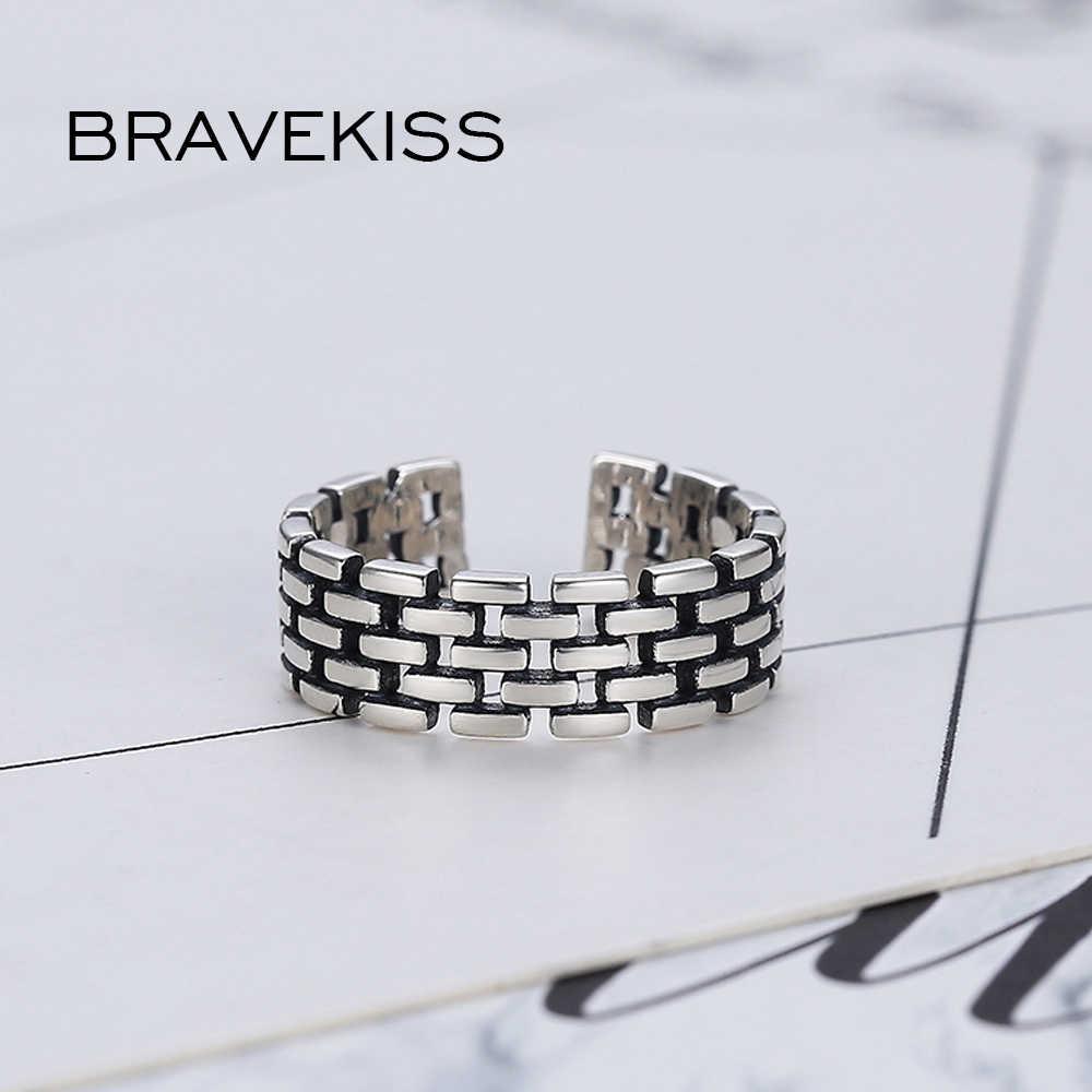 BRAVEKISS широкое 925 пробы Серебряное кольцо для женщин и мужчин большое открытое регулируемое Винтажное кольцо на палец с отверстиями модное ювелирное изделие BLR0330