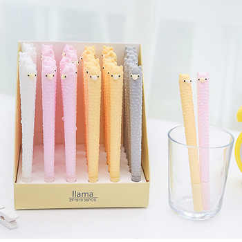 36pcs kawaii gel ink pen silicone lovely alpaca pens for school student office writing supplies cartoon cute korean stationary - DISCOUNT ITEM  20 OFF Education & Office Supplies