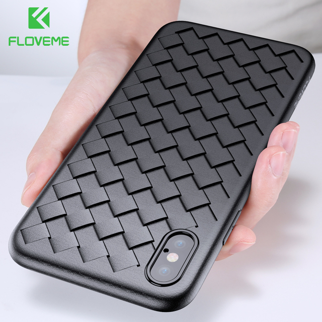 FLOVEME Soft Phone Case For iPhone 8 X XS 11 Pro Max Luxury Grid Cases For iPhone 6 6s 7 8 Plus XR XS Cover Silicone Accessories