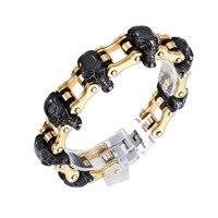 Punk Style 316L Stainless Steel Men Bracelet Yellow Gold Hand Link Black Skull Bike Harley Motocycle Chain Bracelets